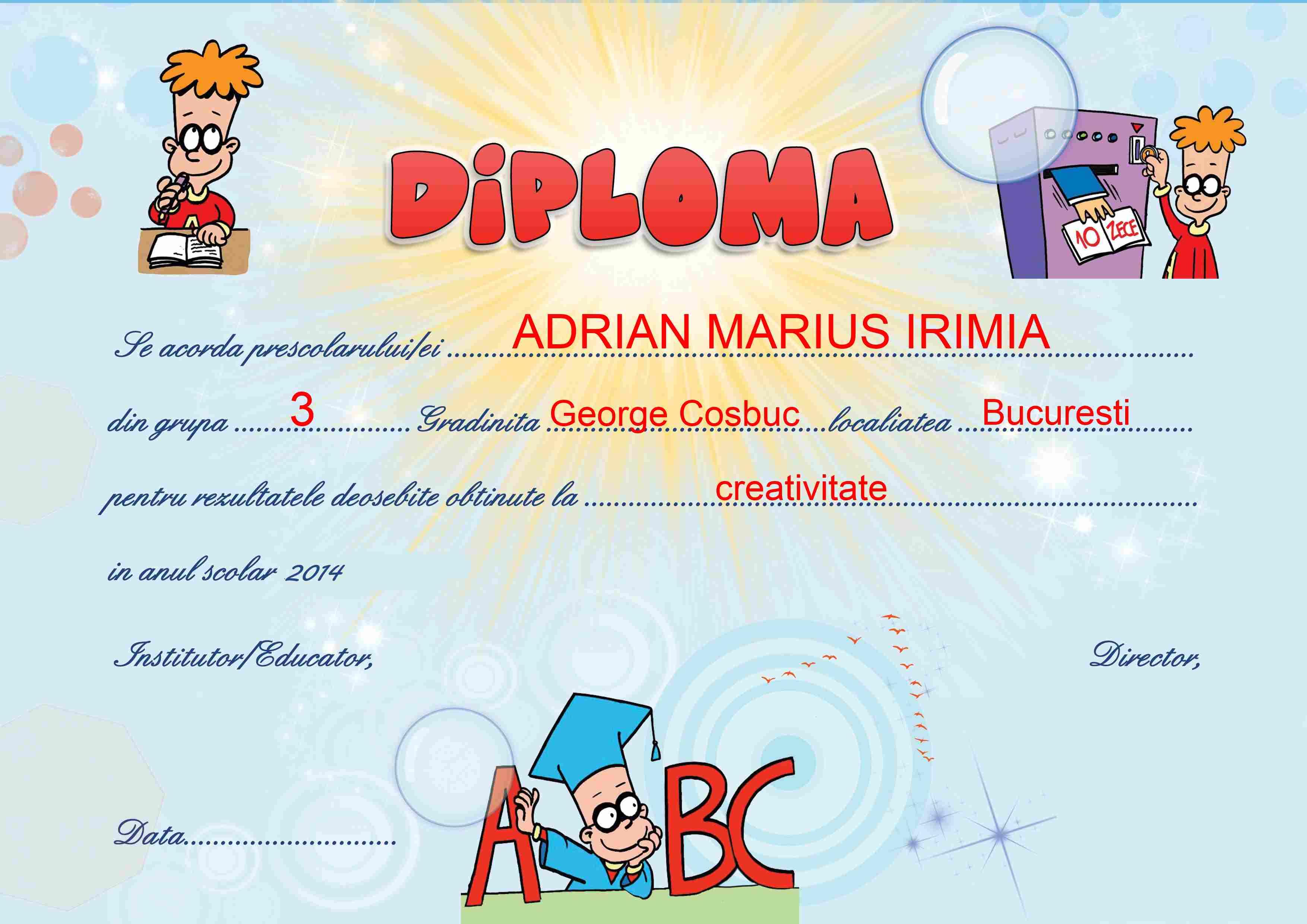 Diploma gradinita model completat